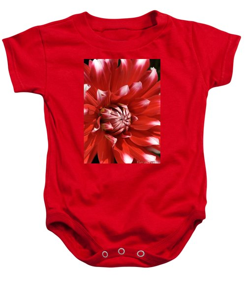 Flower- Dahlia-red-white Baby Onesie