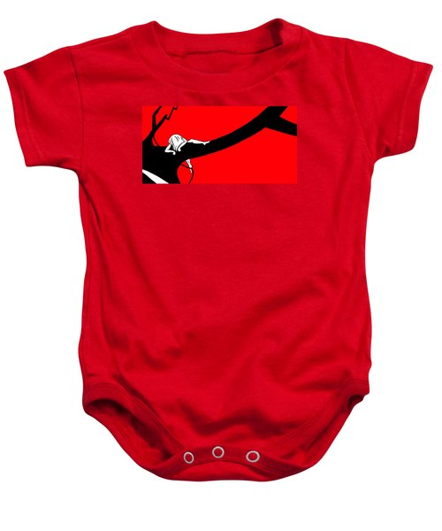 Girl On The Tree Of Time Red Baby Onesie