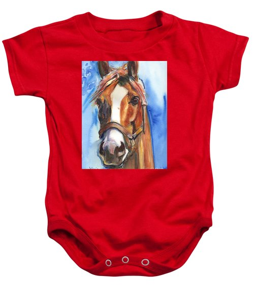 Horse Painting Of California Chrome Go Chrome Baby Onesie by Maria's Watercolor