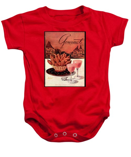Gourmet Cover Featuring A Basket Of Potato Curls Baby Onesie by Henry Stahlhut