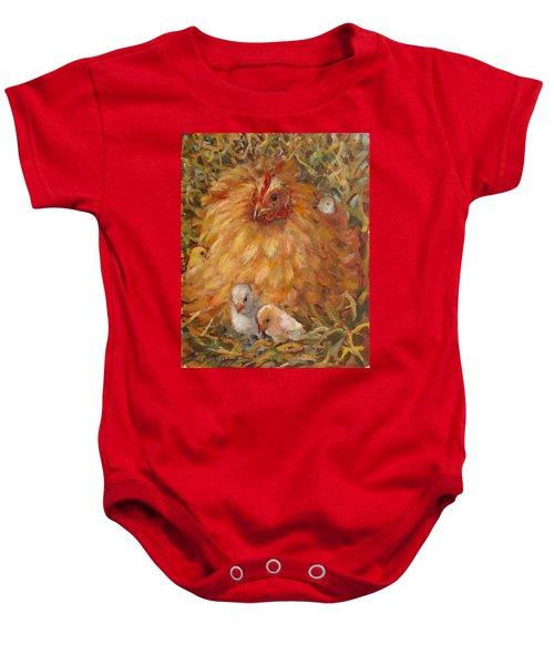 Hen And Chicks Baby Onesie