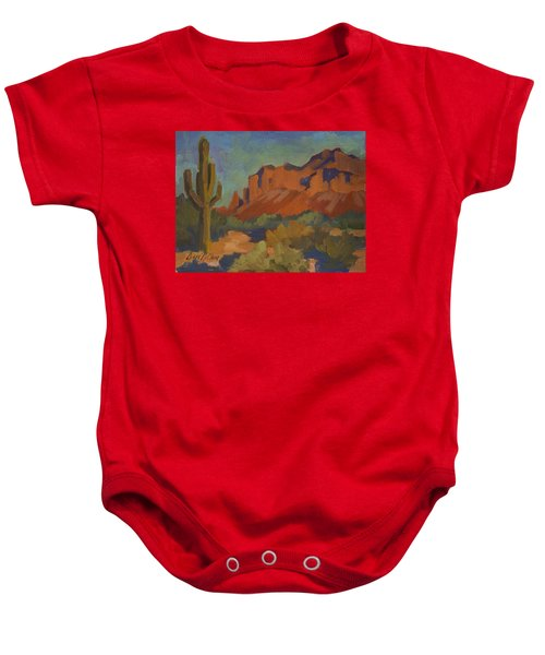 Late Afternoon Light At Superstition Mountain Baby Onesie