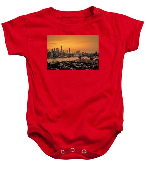 New York Sunset - Skylines Of Manhattan And Brooklyn Baby Onesie