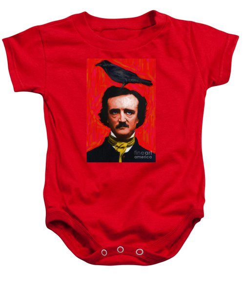 Quoth The Raven Nevermore - Edgar Allan Poe - Painterly - Red - Standard Size Baby Onesie