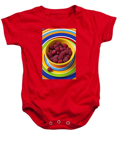 Raspberries In Yellow Bowl On Plate Baby Onesie