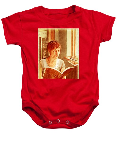 Baby Onesie featuring the painting Reading A Book Vintage Style by Irina Sztukowski