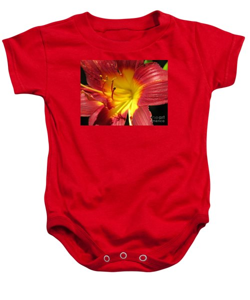 Red And Yellow Day Lily Baby Onesie