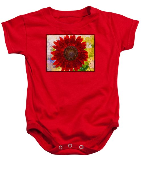 Royal Red Sunflower Baby Onesie