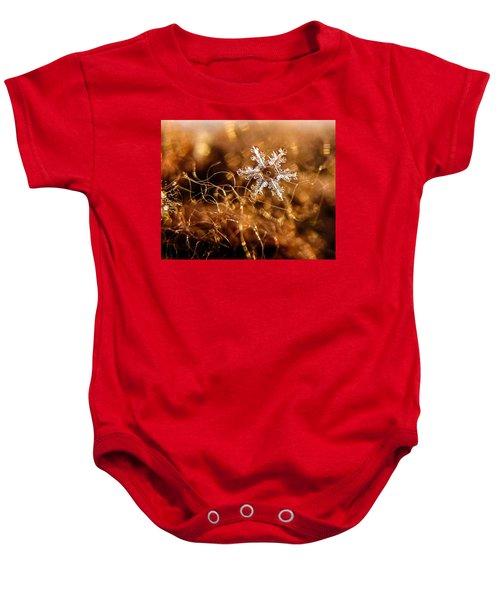 Snowflake On Brown Baby Onesie