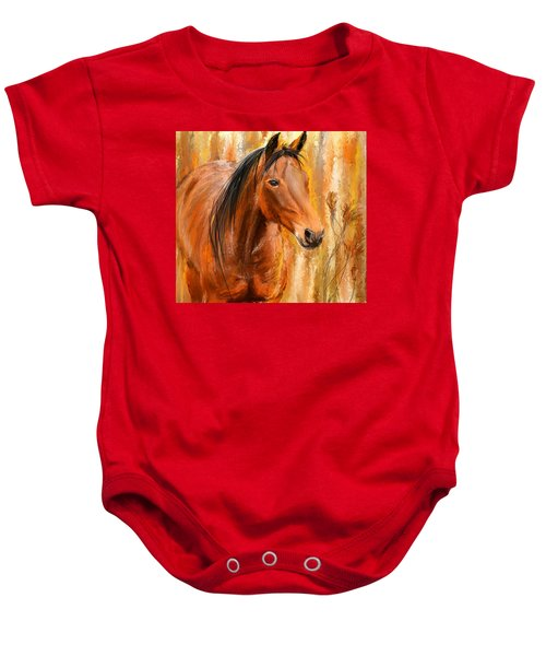 Standing Regally- Bay Horse Paintings Baby Onesie