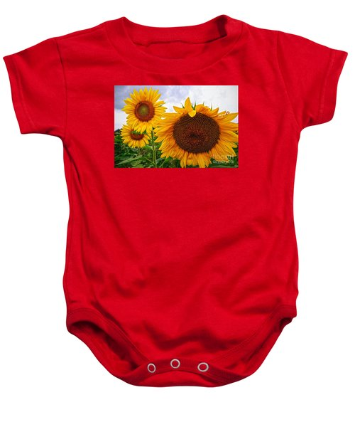 Sunflower Mama And Her Daughters  Baby Onesie