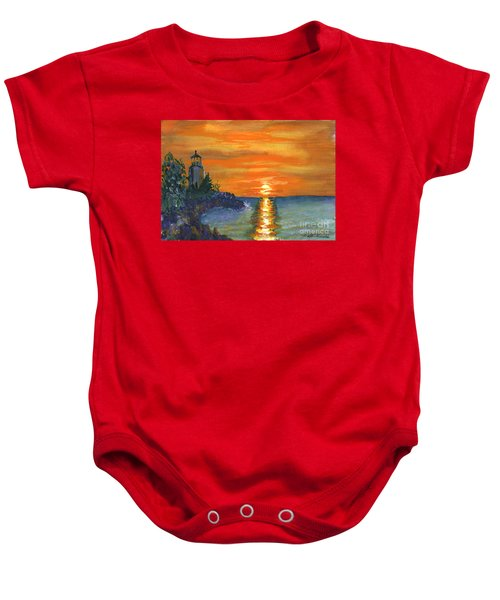 Sunset At The Lighthouse Baby Onesie