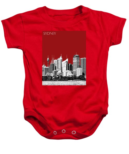 Sydney Skyline 1 - Dark Red Baby Onesie