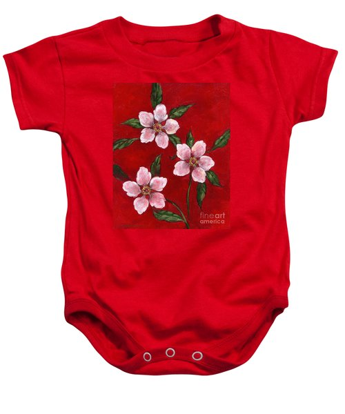 Three Blossoms On Red Baby Onesie