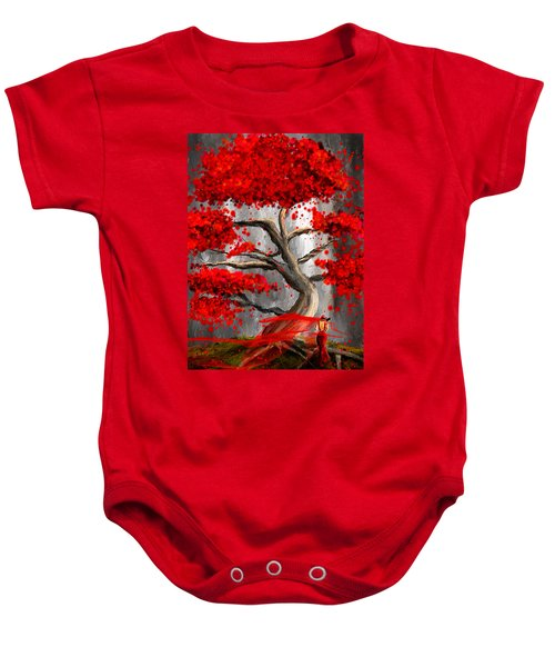 True Love Waits - Red And Gray Art Baby Onesie