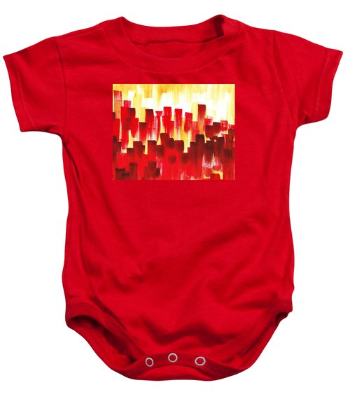 Baby Onesie featuring the painting Urban Abstract Red City Lights by Irina Sztukowski