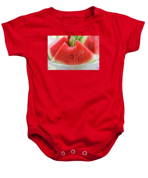 Wedge Of Watermelon, A Bite Taken, In A Glass Bowl Baby Onesie