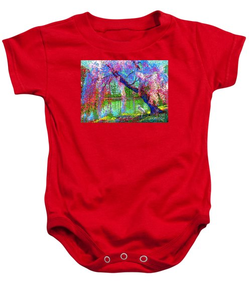 Weeping Beauty, Cherry Blossom Tree And Heron Baby Onesie