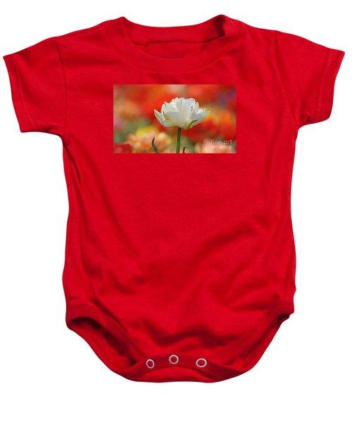 White Tulip Weisse Gefuellte Tulpe Baby Onesie