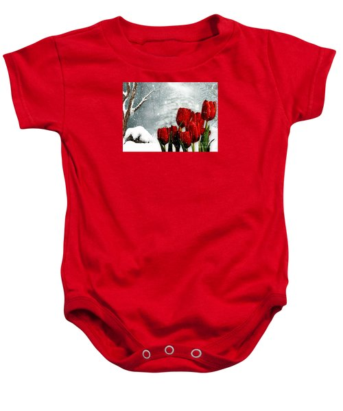 Baby Onesie featuring the mixed media Winter Tulips by Morag Bates