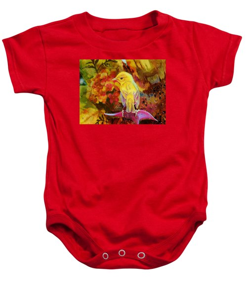 Yellow Bird Baby Onesie by Catf