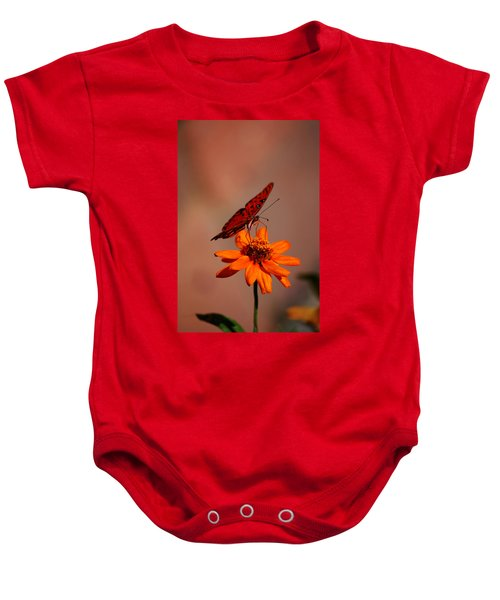 Orange Butterfly Orange Flower Baby Onesie