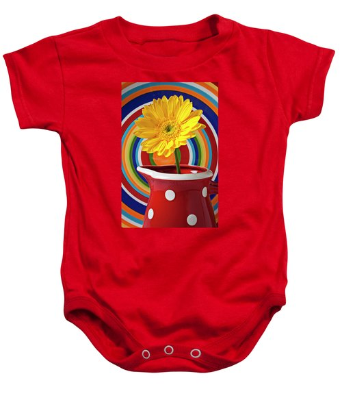Yellow Daisy In Red Pitcher Baby Onesie
