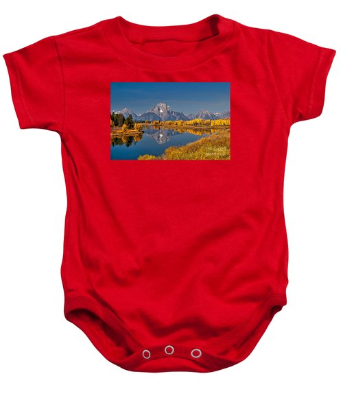 Fall Colors At Oxbow Bend In Grand Teton National Park Baby Onesie