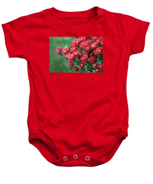Beautiful Red Mums Baby Onesie