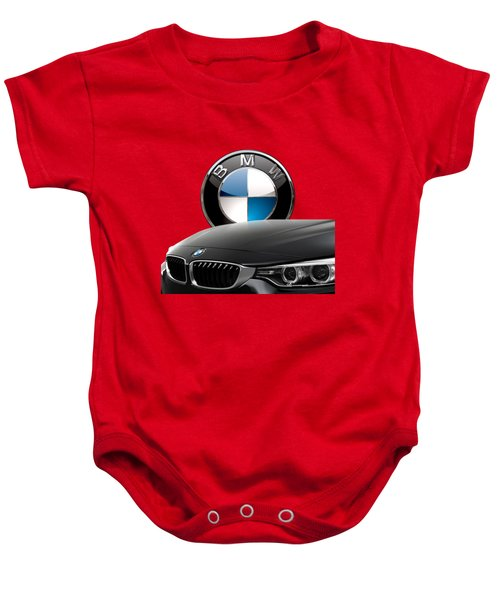 Black B M W - Front Grill Ornament And 3 D Badge On Red Baby Onesie by Serge Averbukh