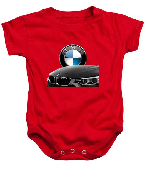 Black B M W - Front Grill Ornament And 3 D Badge On Red Baby Onesie