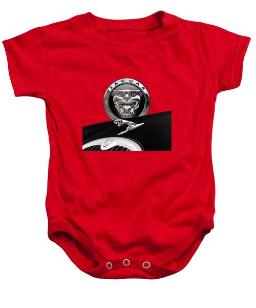 Black Jaguar - Hood Ornaments And 3 D Badge On Red Baby Onesie