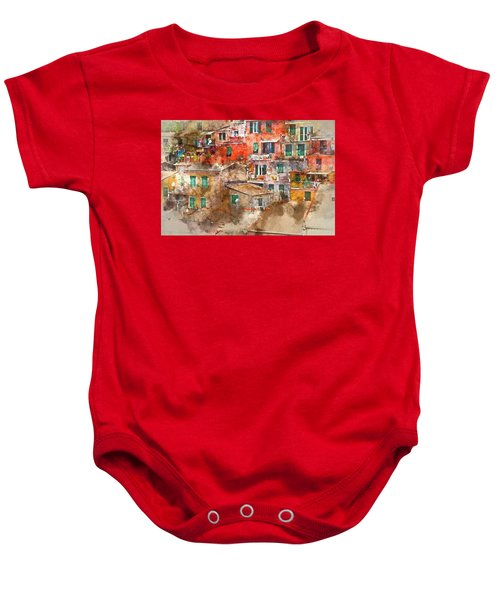 Colorful Homes In Cinque Terre Italy Baby Onesie
