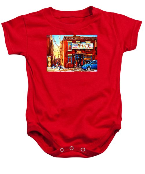 Fairmount Bagel In Winter Baby Onesie
