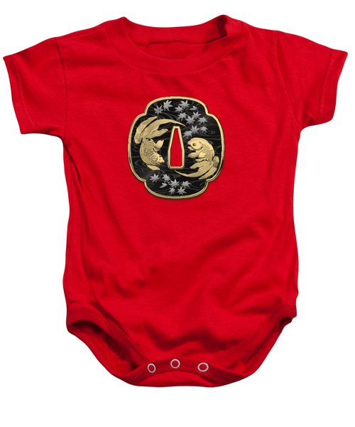 Japanese Katana Tsuba - Twin Gold Fish On Black Steel Over Red Velvet Baby Onesie