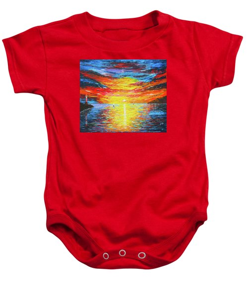 Baby Onesie featuring the painting  Lighthouse Sunset Ocean View Palette Knife Original Painting by Georgeta Blanaru