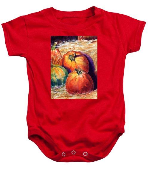 Pumpkins In Barn Baby Onesie