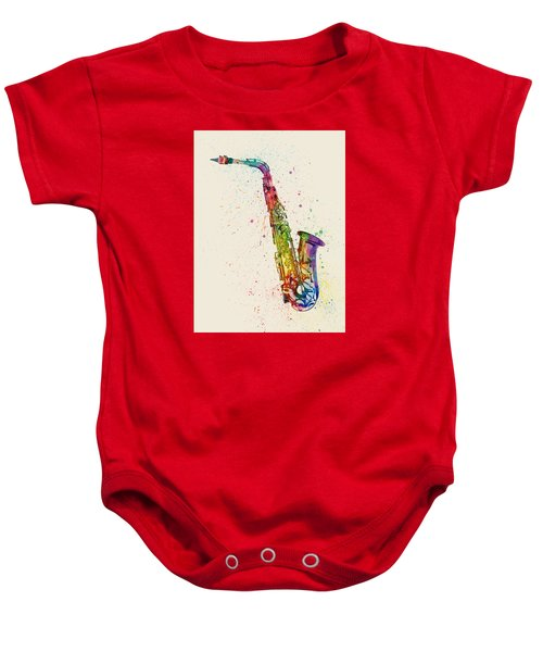 Saxophone Abstract Watercolor Baby Onesie