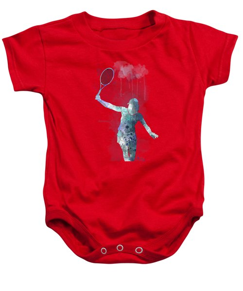 Tennis Player Baby Onesie by Marlene Watson