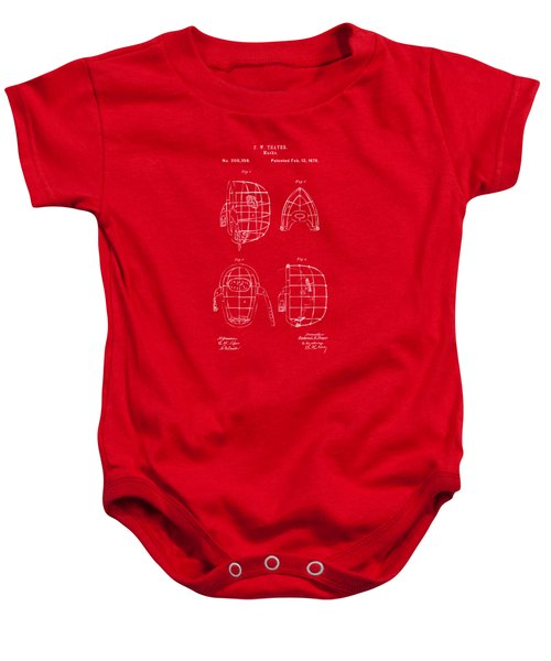 1878 Baseball Catchers Mask Patent - Red Baby Onesie by Nikki Marie Smith