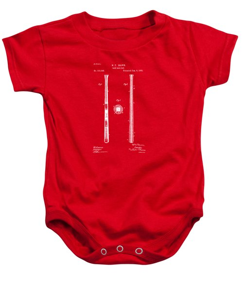 1885 Baseball Bat Patent Artwork - Red Baby Onesie by Nikki Marie Smith