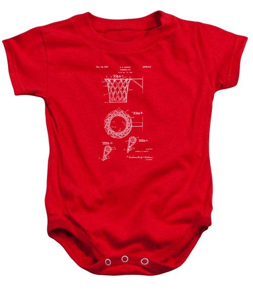 1951 Basketball Net Patent Artwork - Red Baby Onesie