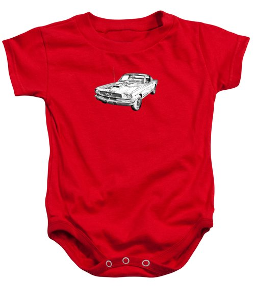 1966 Ford Mustang Fastback Illustration Baby Onesie