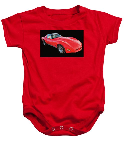1977 Chevy Corvette T Tops Digital Oil Baby Onesie