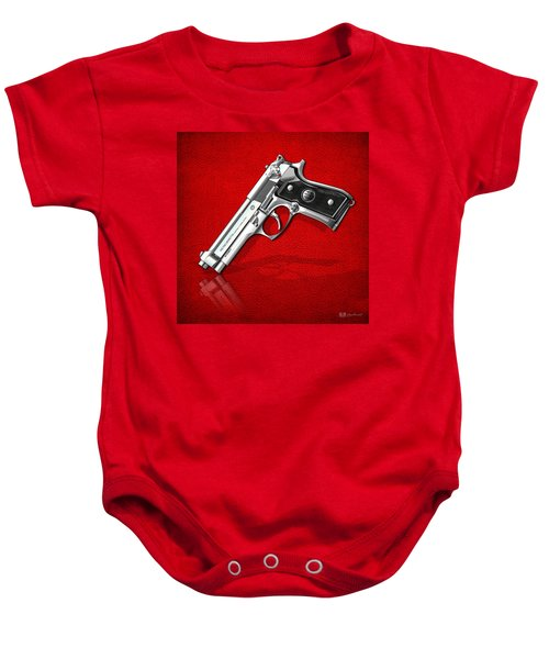 Beretta 92fs Inox Over Red Leather  Baby Onesie