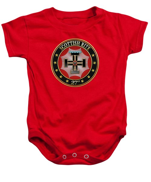 27th Degree - Knight Of The Sun Or Prince Adept Jewel On Red Leather Baby Onesie by Serge Averbukh