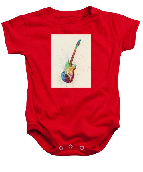 Electric Guitar Abstract Watercolor Baby Onesie