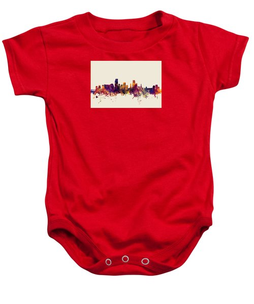 Miami Florida Skyline Baby Onesie by Michael Tompsett