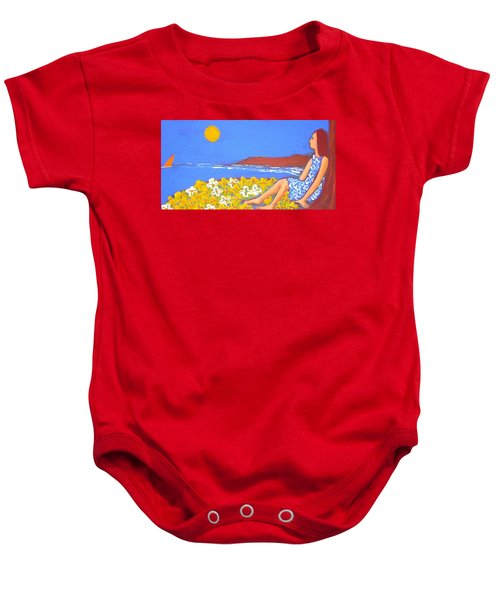 Baby Onesie featuring the painting A Quiet Place by Winsome Gunning