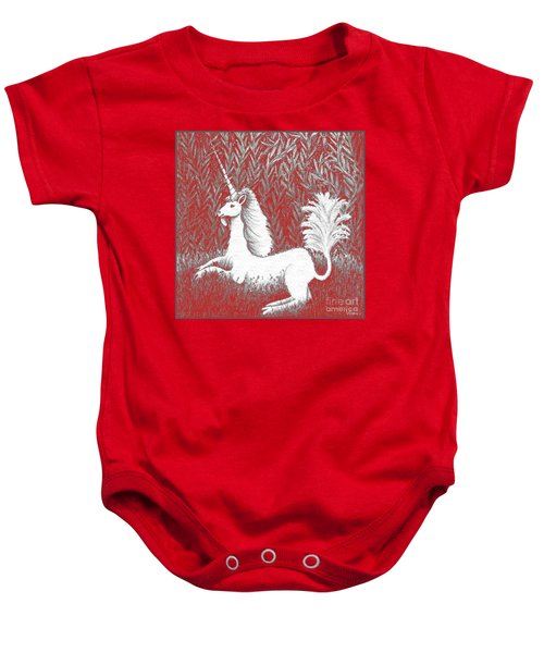 A Unicorn In Moonlight Tapestry Baby Onesie